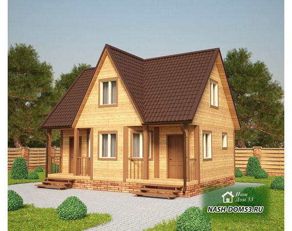 Проект Дома из бруса №34 «ТПД 34-6х8»