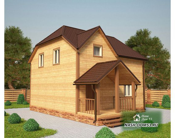Проект Дома из бруса №38 «ТПД 38-8х6.5»
