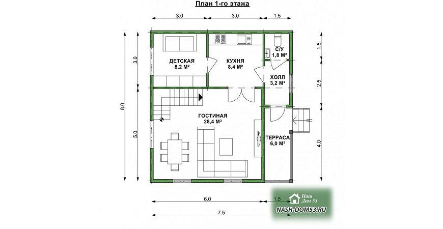 Проект Дома из бруса №41 «ТПД 41»
