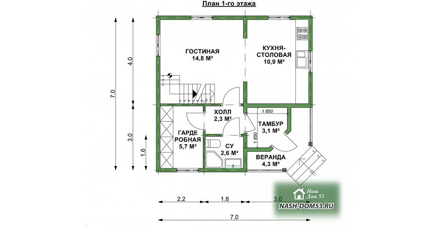 Проект Дома из бруса №42 «ТПД 42»
