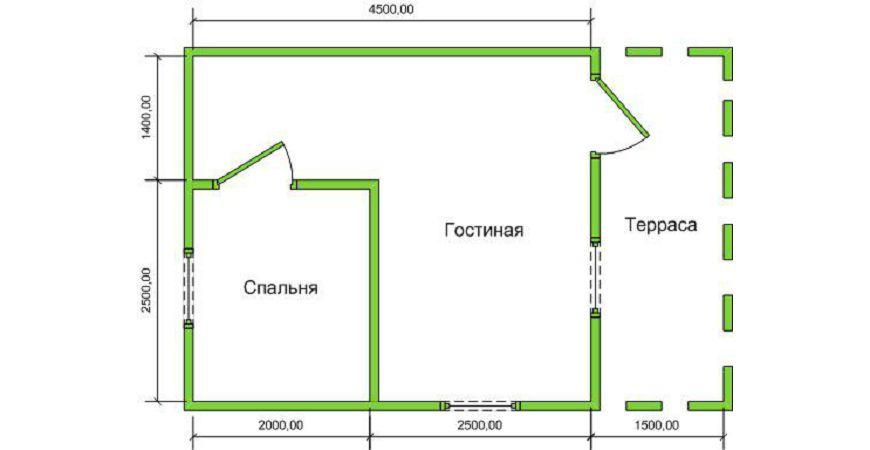 Проект Дома из бруса №43 «ТПД 43»