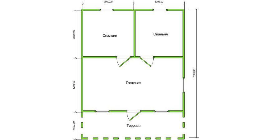 Проект Дома из бруса №45 «ТПД 45»