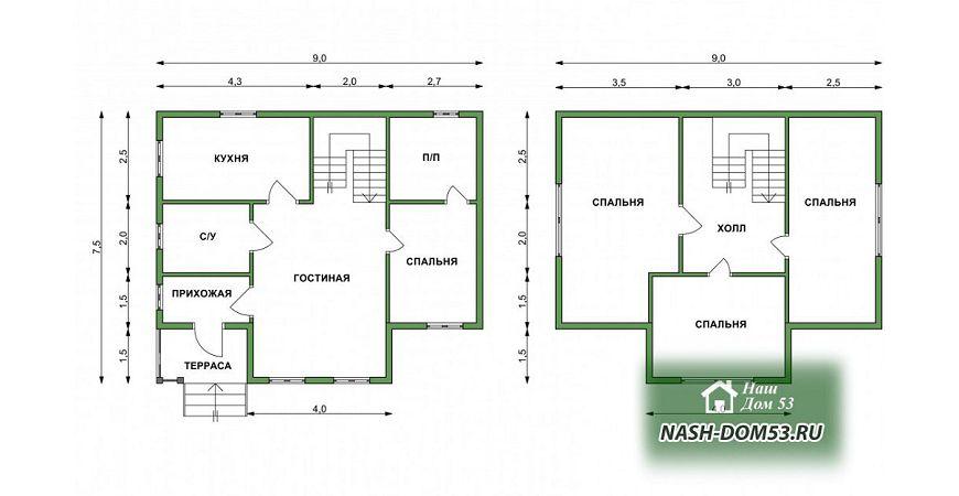 Проект Дома под усадку №31 «ТПД 31-7.5х9»
