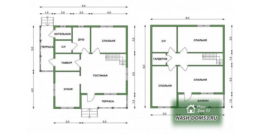 Проект Дома под усадку №32 «ТПД 32-9х9.5»