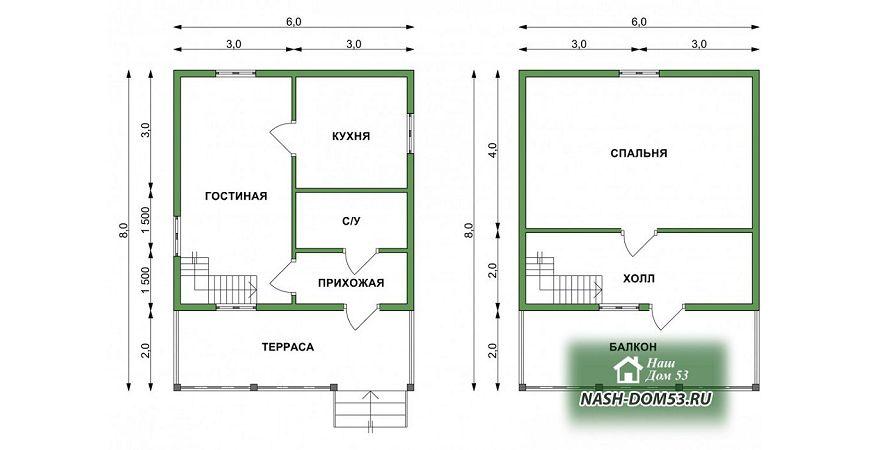 Проект Дома под усадку №33 «ТПД 33-6х8»