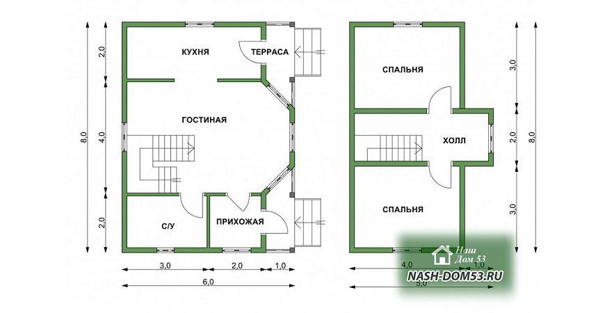Проект Дома под усадку №34 «ТПД 34-6х8»