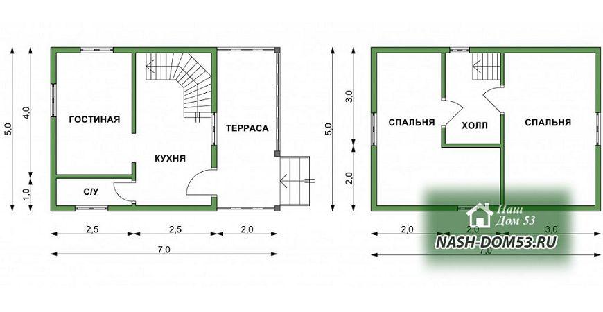 Проект Дома под усадку №37 «ТПД 37-5х7»