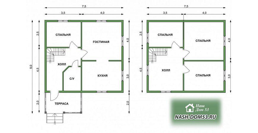 Проект Дома под усадку №38 «ТПД 38-8х6.5»
