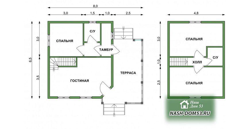 Проект Дома под усадку №39 «ТПД 39-7х7.5»