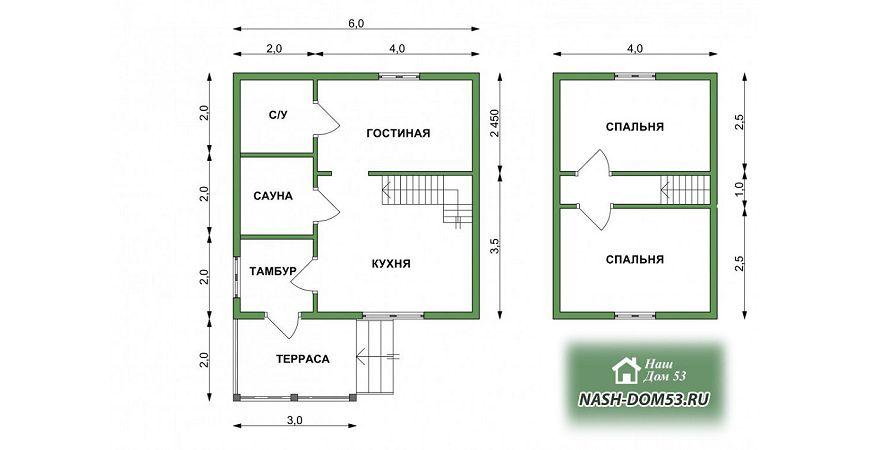 Проект Дома под усадку №40 «ТПД 40-6х6»