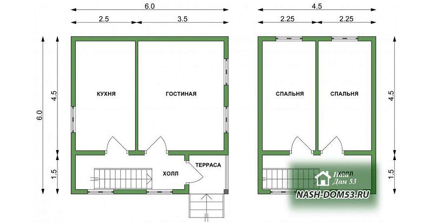 Проект Дома под усадку №1 «ТПД 1-6х6»