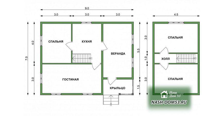 Проект Дома под усадку №2 «ТПД 2-7х9»