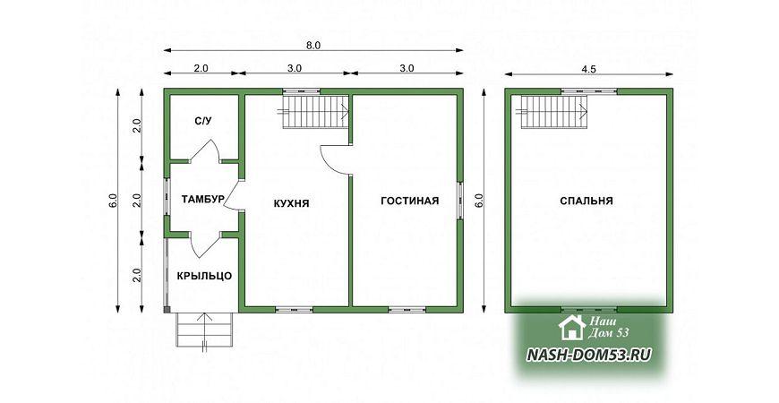 Проект Дома под усадку №3 «ТПД 3-6х8»