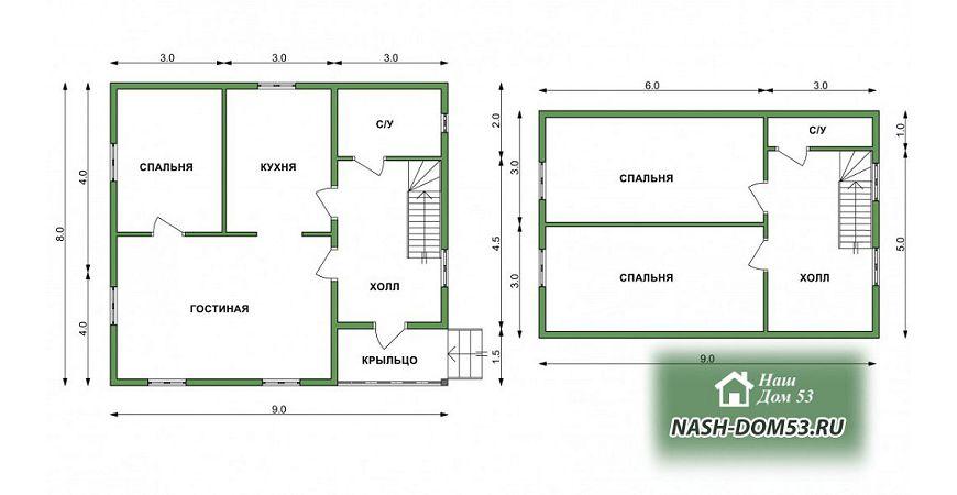 Проект Дома под усадку №6 «ТПД 6-8х9»