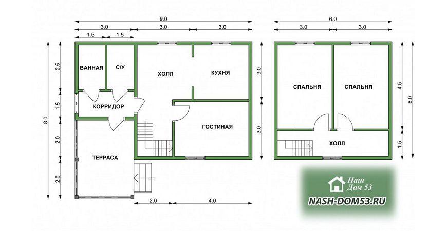 Проект Дома под усадку №7 «ТПД 7-9х8»