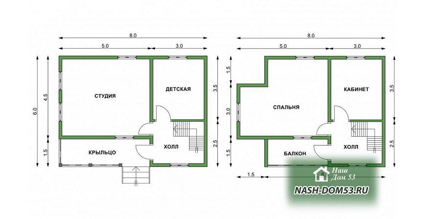 Проект Дома под усадку №9 «ТПД 9-8х6»
