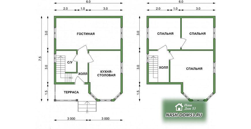 Проект Дома под усадку №13 «ТПД 13-6х7.5»