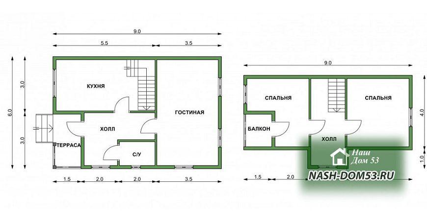 Проект Дома под усадку №20 «ТПД 20-6х9»