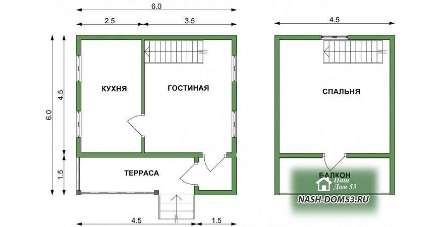 Проект Дома под усадку №21 «ТПД 21-6х6»