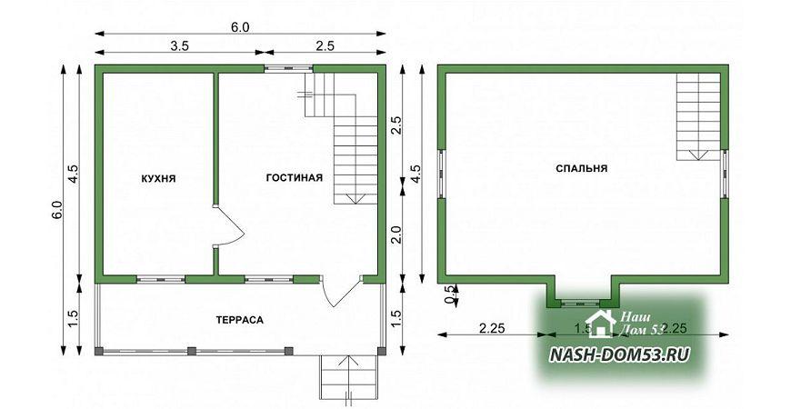 Проект Дома под усадку №23 «ТПД 23-6х6»