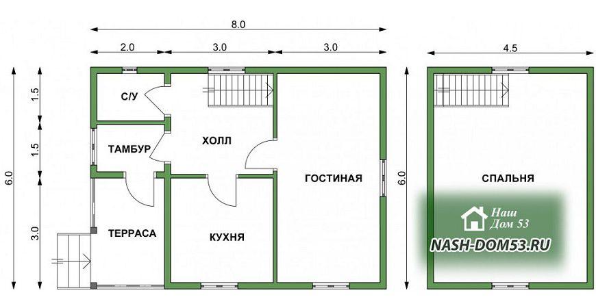 Проект Дома под усадку №25 «ТПД 25-6х8»