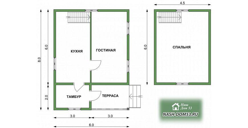 Проект Дома под усадку №26 «ТПД 26-6х8»