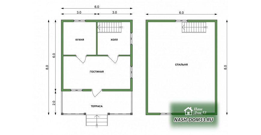 Проект Каркасного Дома №4 «ТПД 4-6х8»