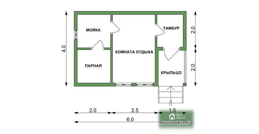 Проект Бани под усадку №56 «ТПБ 4»