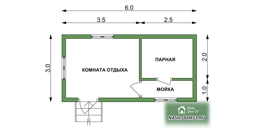 Проект Бани под усадку №67 «ТПБ 15»