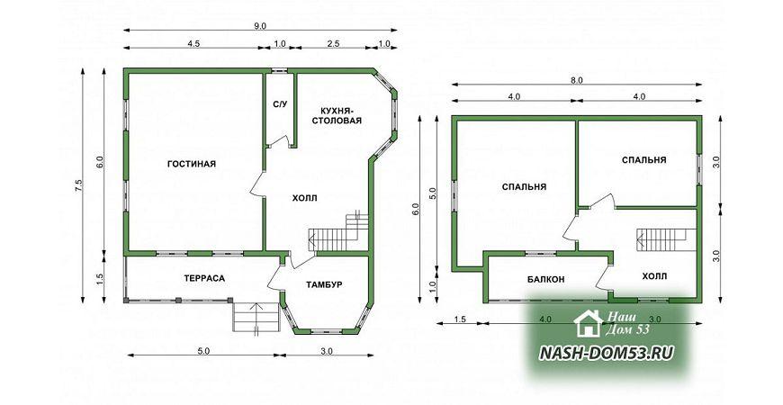Проект Дома из бруса №11 «ТПД 11-7.5х9»