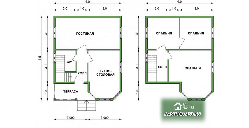 Проект Дома из бруса №13 «ТПД 13-6х7.5»