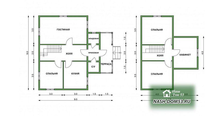 Проект Дома из бруса №14 «ТПД 14-9-9»