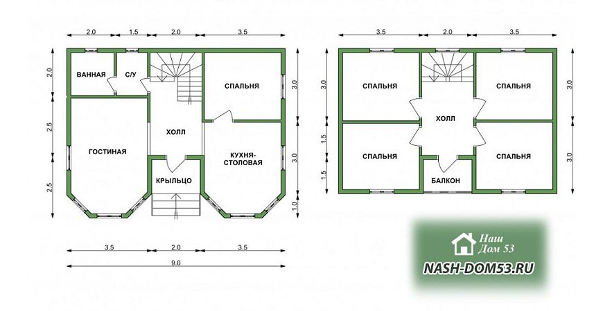 Проект Дома из бруса №16 «ТПД 16-7х9»