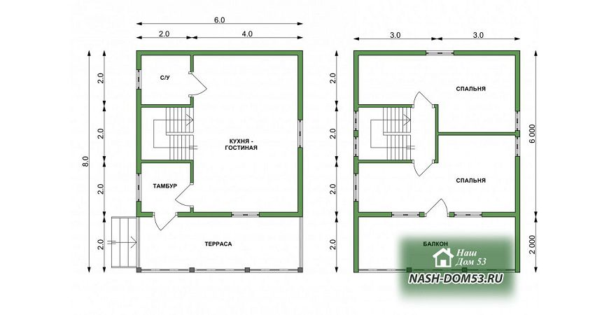 Проект Дома из бруса №18 «ТПД 18-6х8»