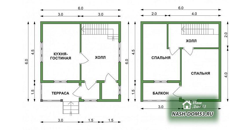 Проект Дома из бруса №19 «ТПД 19-6х6»