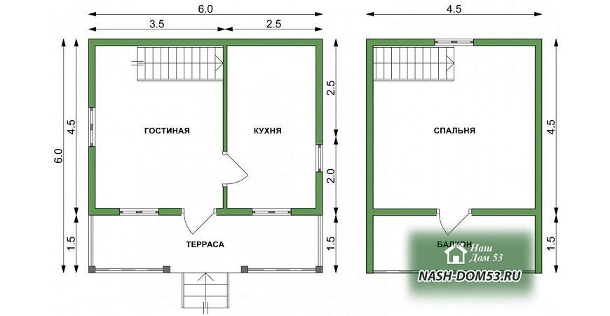 Проект Дома из бруса №22 «ТПД 22-6х6»