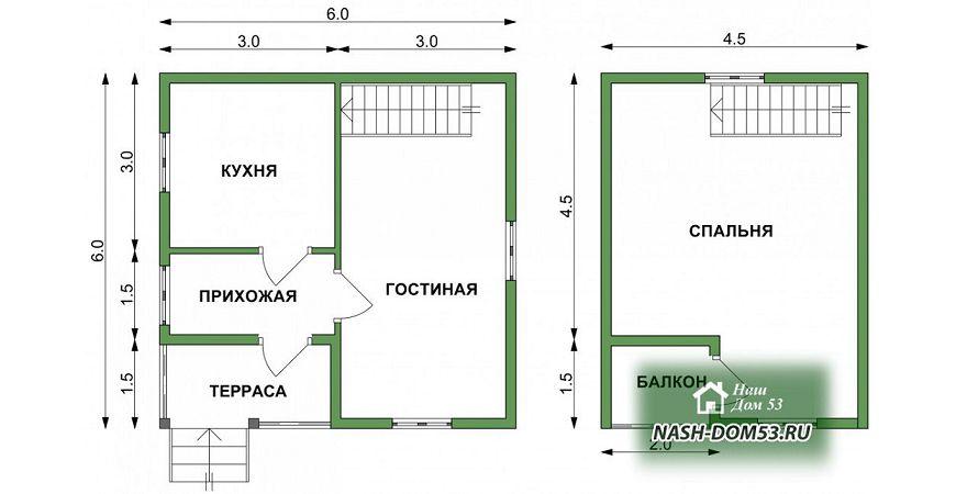 Проект Дома из бруса №24 «ТПД 24-6х6»