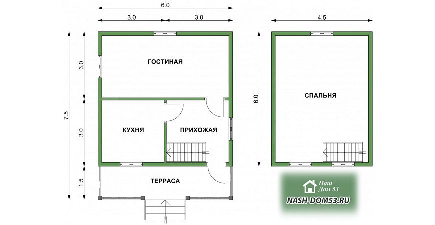 Проект Дома из бруса №27 «ТПД 27-6х7.5»