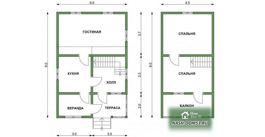 Проект Дома из бруса №29 «ТПД 29-6х9»