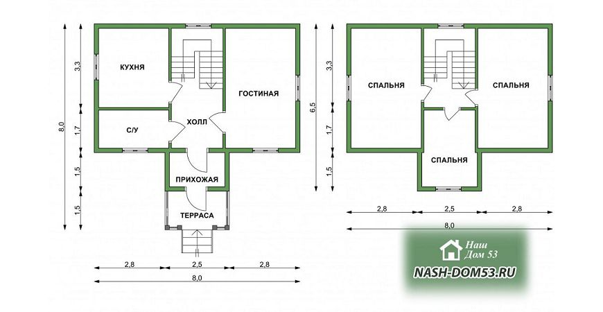 Проект Дома из бруса №30 «ТПД 30-8х8»